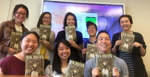 "Wellesley College students from my Spring 2016 American Studies course, ""Asian/Aliens and Techno- Orientalism."" We're holding up copies of Marjorie Liu's graphic novel Monstress #1."